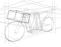 Tutorial_Bike_Shape_Front_Cube how to draw vehicles motorcycles on 3 point perspective template