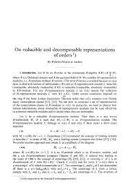 on reducible and decomposable representations of orders journal  on reducible and decomposable representations of orders journal fur die reine und angewandte mathematik crelles journal