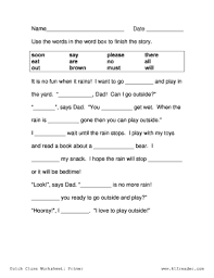 dolch primer fillable online cloze activities dolch primer cloze worksheet 2 www