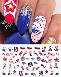 Amazon.com : 60 4th of July USA America Patriotic Nail Art Decal ...