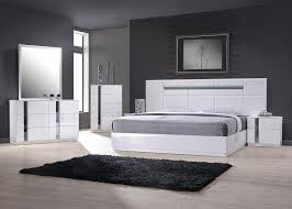 J&M Palermo Contemporary King Bedroom Set in White Lacquer and ...