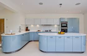 blue kitchen designs. Baby Blue Modern Kitchen With White Counters And Flooring Designs B