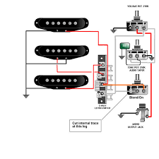 guitar wiring tips tricks schematics and links blend on standard strat wiring converted to master vol master tone and blend on pot for bridge pickup