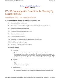 Nursing Documentation Charting By Exception Iv 105 Documentation Guidelines For Charting By Exception Cbe