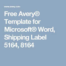 Avery Label 5164 Template Free Avery Template For Microsoft Word Shipping Label