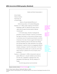 Sample Of A Annotated Bibliography In Apa Style Links To Cite It