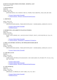 Pdf Science Citation Index Sci Journal List 2019