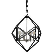 decor therapy alexa 4 light black metal geometric pendant