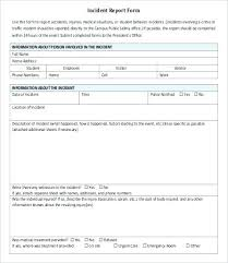 Incident Reporting Template Impressive Free Incident Report Template Word Rightarrow Template Database