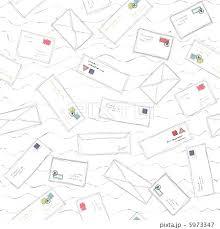 郵便の多い手紙や封筒いたずら書きのシームレスなパターンの背景イラスト