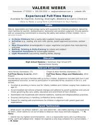 Nanny Resume Skills Nannybabysitter Example Examples Templates