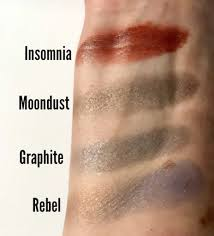 swatches of 4 makeup geek eyeshadow shades done with my fingers over bare skin neversaybeauty