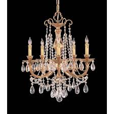 crystorama lighting group etta ornate cast brass five light chandelier with swarovski strass crystal