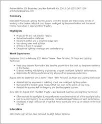 How To Write A Resume For Theatre Theatre Reflection Example Office