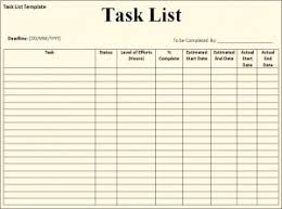 Task list template - Free Formats Excel Word