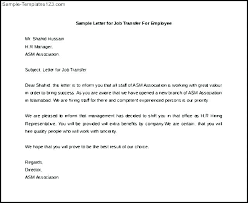 Official Transfer Request Letter Job Relocation Sample