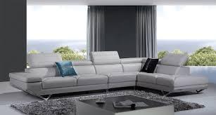 Quebec Bedroom Furniture Casa Quebec Modern Light Grey Italian Leather Sectional Sofa
