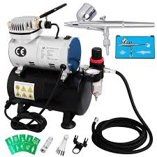voilamart dual action airbrush spray 1 6hp compressor kit needle stencils hose paint set for beauty make up