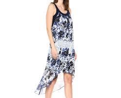 Slny Blue White Womens Us Size Xl Printed Chiffon High Low Shift Dress