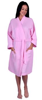 Light Pink Kimono Robe Waffle Weave Turkish Cotton Womens Kimono Robe One Size
