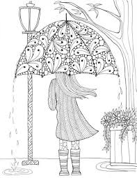 Prettiest Umbrella Girl Coloring Page Crafts Pinterest