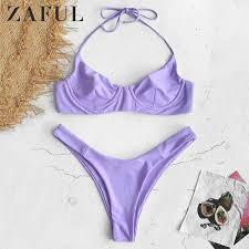 ZAFUL Underwire Ribbed High Leg <b>Bikini</b> Set <b>Sexy Thong Triangle</b> ...