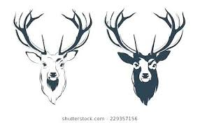 vector ilration of a male red deer head cutout template previous outline printable unfinished wood