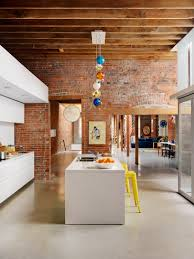 Brick Kitchen Interior Decoration Minimalist Brick Kitchen With Long Dark