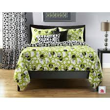 black and green bedding white
