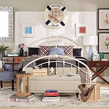 Amazon.com: White Antique Vintage Metal Bed Frame Rustic Wrought ...