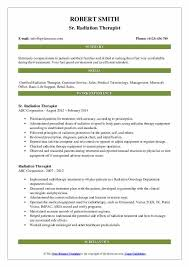 Radiation Therapist Resume Samples Qwikresume
