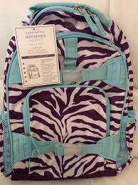 Pottery Barn Kids Small Mackenzie Backpack Plum Turquoise Zebra from Pottery  Barn Kids