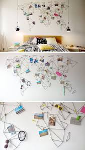 these geometric world maps are made from wire that lets you clip treasures and photos from your travels onto the map so you can personalize your wall even