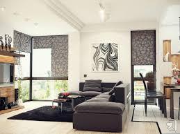 black white modern living room with grey sofa and black rug image