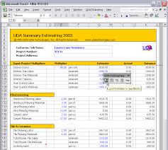 Uda Estimating 2003 Construction Estimating Templates