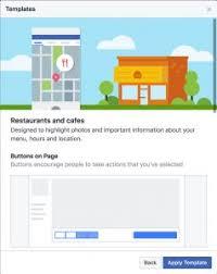 facebook restaurant template view