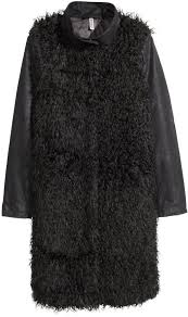 h m faux fur coat black las