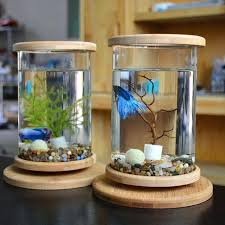 betta fish tank decorations glass bamboo base mini decoration accessories rotate bowl aquarium cool betta fish tank