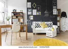 creative images furniture. creative living room with chalkboard wall wooden desk and vintage furniture images