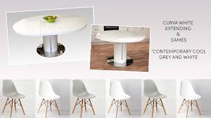 endearing white round extending dining table 30 curva and eames style set 1