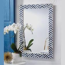 blue chevron art bone inlay mirror