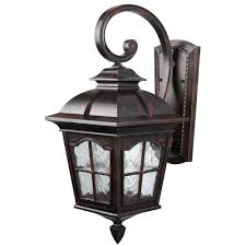 canarm madison 1 light rustic bronze outdoor wall lantern with watermark glass