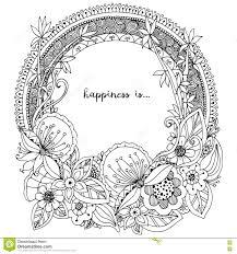 Vector Lillustrazione Zen Tangle La Struttura Rotonda Con I Fiori