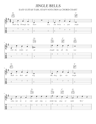 Jingle Bells Easy Guitar Tabs Staff Notation Chord