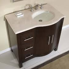 bathroom vanity unit units sink cabinets:  contemporary brown vanity storage unit design with white floor tile also stylish round undermount bathroom sink