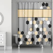 gray and black shower curtain. honeycomb shower curtain in grey/yellow/black gray and black r