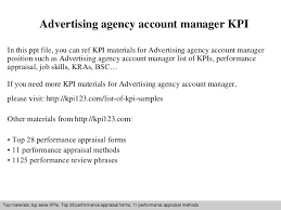 Advertising Account Executive Resume Custom Advertising Agency Account Manager Kpi