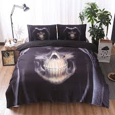 hot skull bedding set black color duvet cover sets queen king size 3pcs new beddings newchic