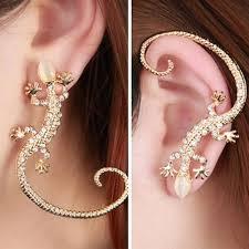 <b>Korean</b> Fashion <b>Jewelry Earrings Luxury</b> Exaggerated Gecko Lizard ...