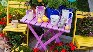 image of color painted garden furniture